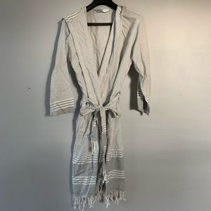 Gray Striped Robe with Hood and Tassels